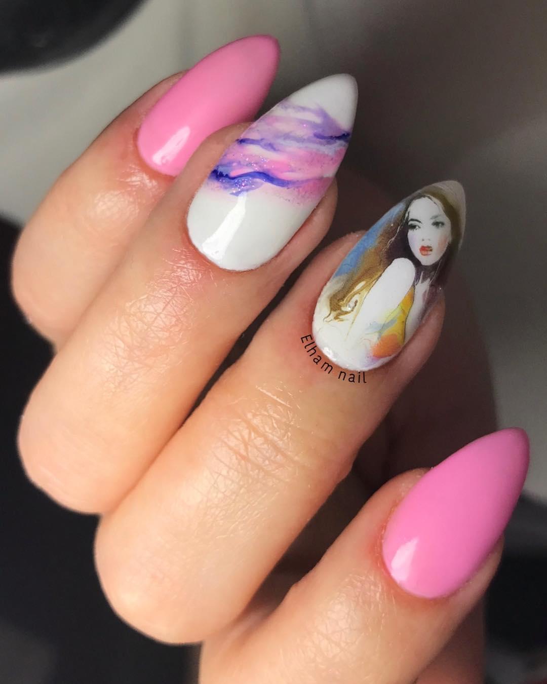 cool pink nail designs 2019 13 - 21 Cool Pink Nail Designs 2019
