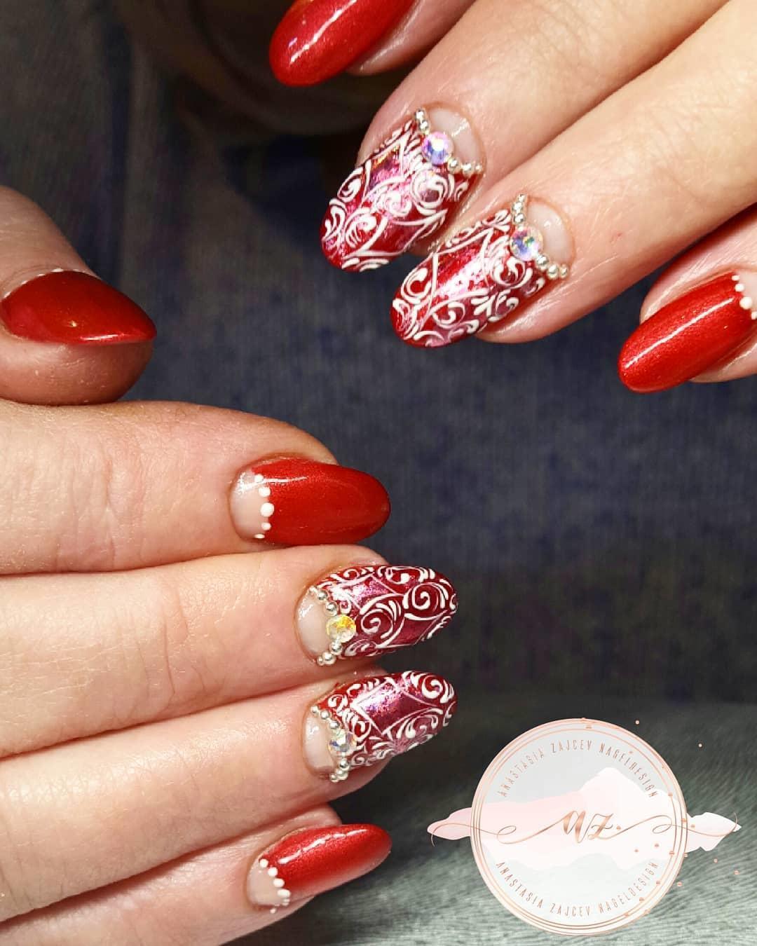 creative red nail design ideas 2019 17 - 20 Creative Red Nail Design Ideas 2019