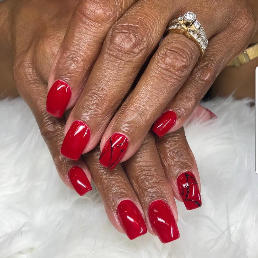 creative red nail design ideas 2019 8 - 20 Creative Red Nail Design Ideas 2019