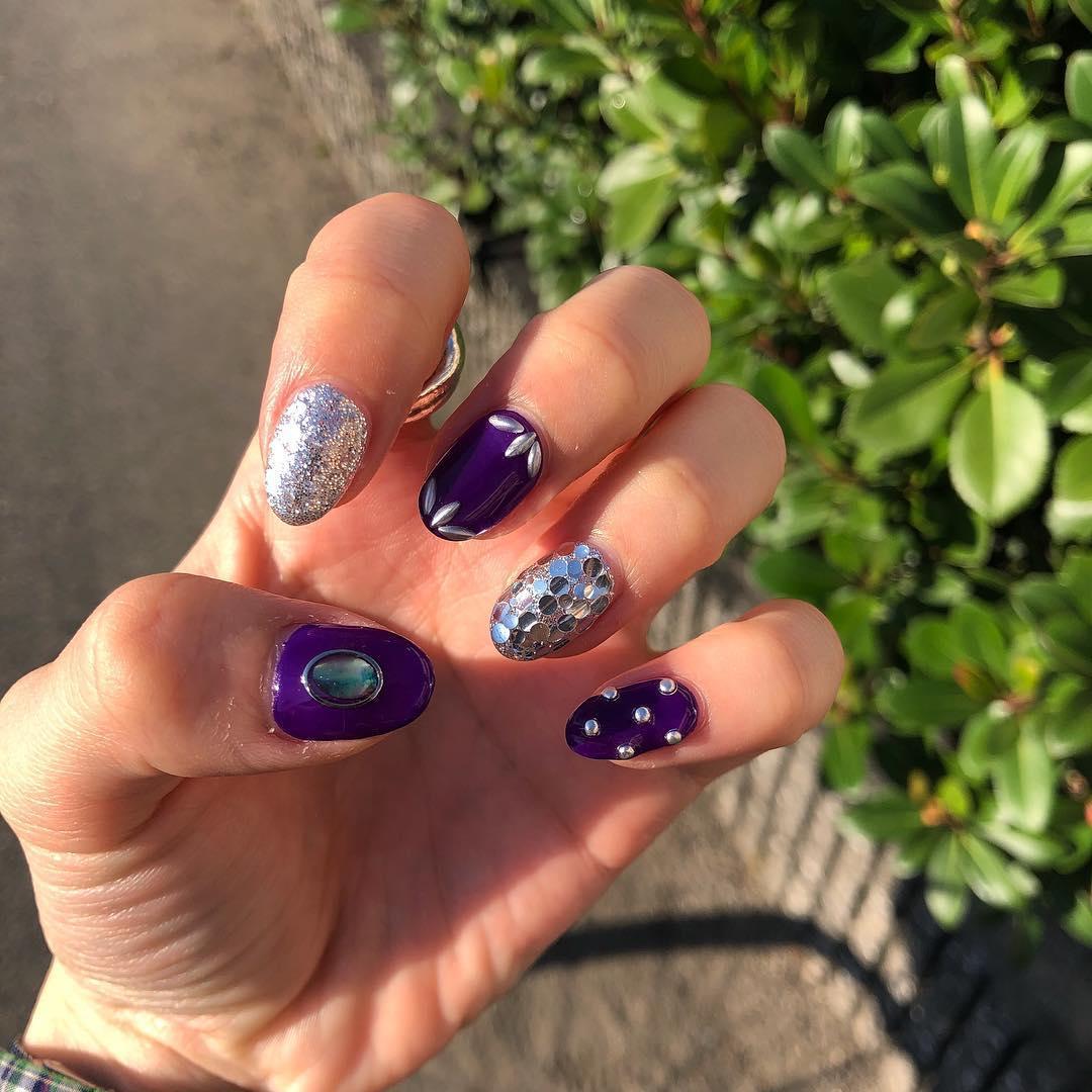 cute purple nail art ideas 2019 15 - 24 Cute Purple Nail Art Ideas 2019