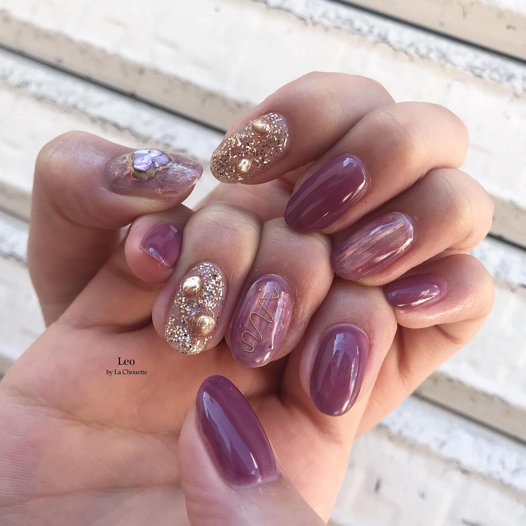 cute purple nail art ideas 2019 20 - 24 Cute Purple Nail Art Ideas 2019