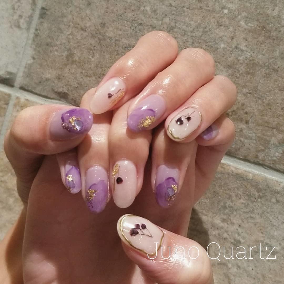 cute purple nail art ideas 2019 5 - 24 Cute Purple Nail Art Ideas 2019