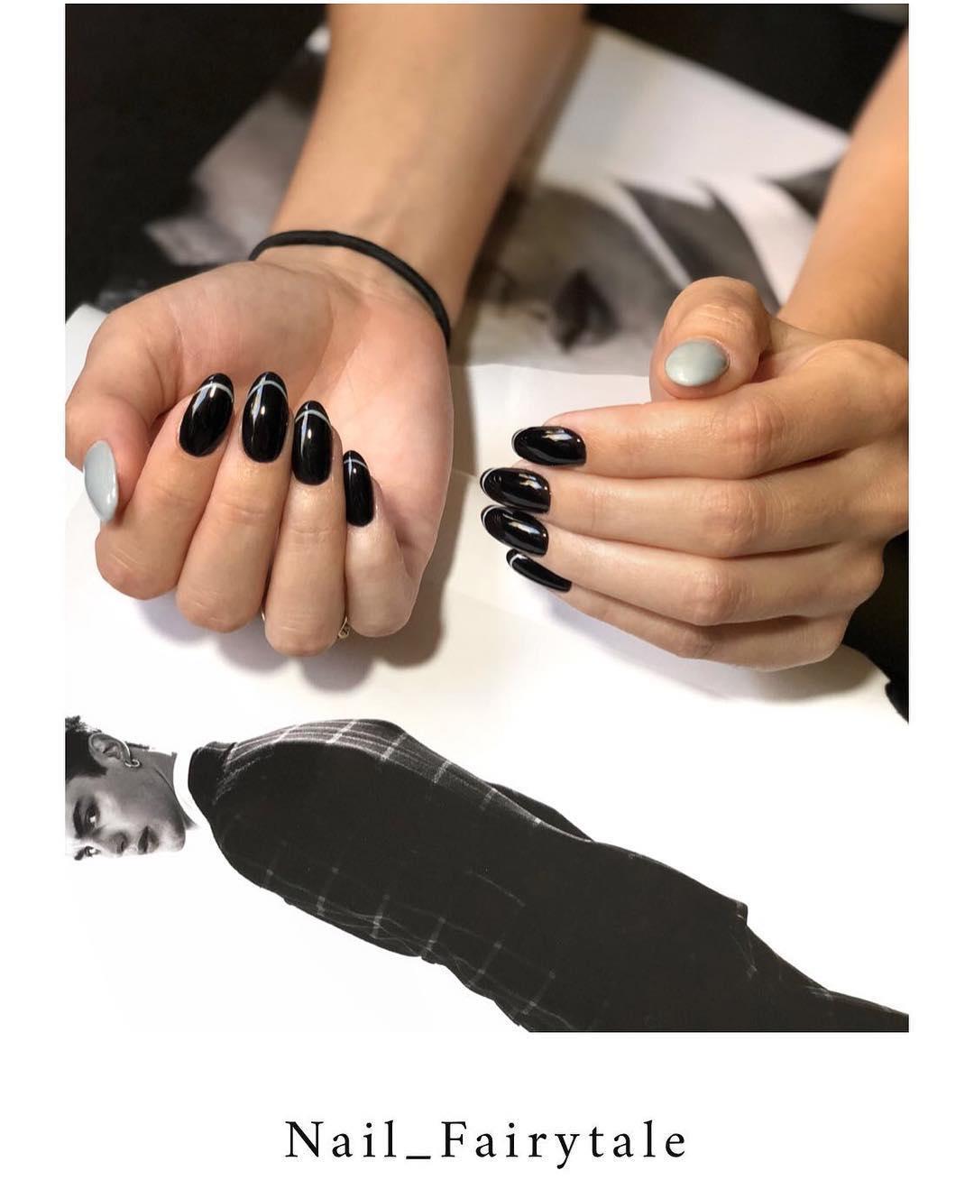 elegant black nail designs 2019 6 - Elegant Black Nail Designs 2019