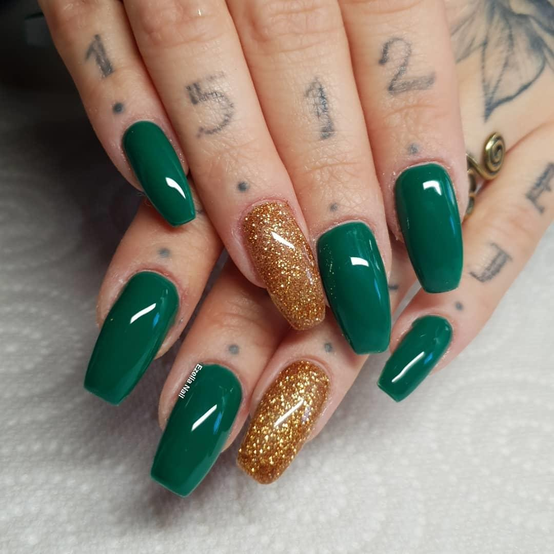 green nail art ideas and designs for 2019 2 - 17 Green Nail Art Ideas and Designs for 2019