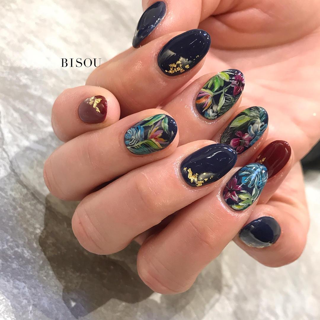 simple flower nail design ideas 2019 13 - 24 Simple Flower Nail Design Ideas 2019