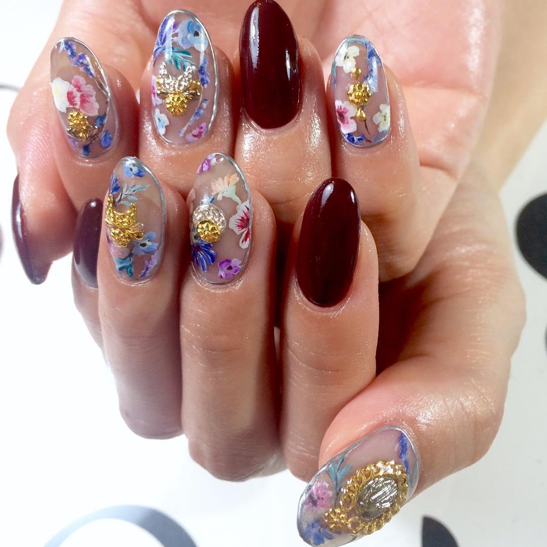 simple flower nail design ideas 2019 9 - 24 Simple Flower Nail Design Ideas 2019