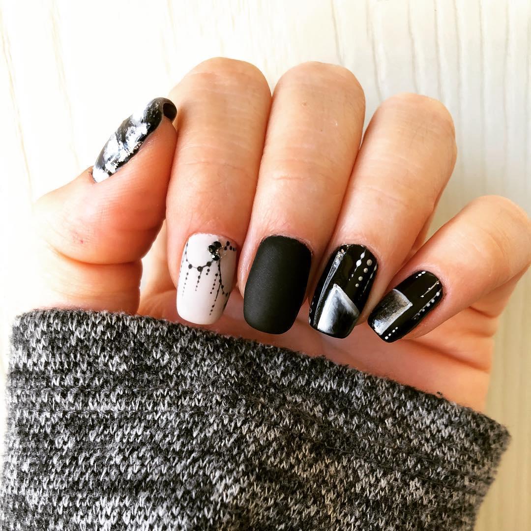 trendy black nail art designs and ideas 2019 - Trendy Black Nail Art Designs and Ideas 2019
